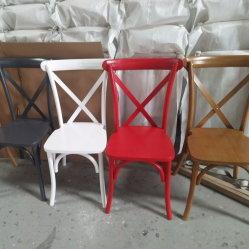 Madeira empilháveis forte moderno X Cruz cadeira para trás