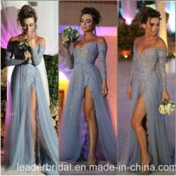 Plata azul partido vestido de hombro mangas largas vestido de noche de baile de fin de curso Z204