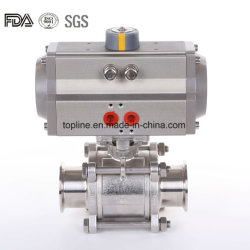 Válvula de bola de neumáticos con abrazadera de Tri extremos y accionador de aluminio