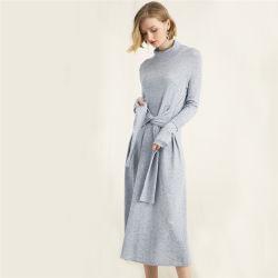 Turtleneck mulheres longo vestido de malha suéter grosso