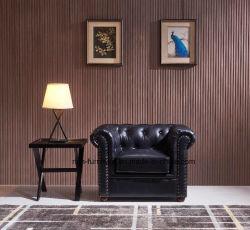 غرفة المعيشة أريكة شيسترفيلد جلدية خمر