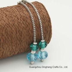 L'électrophorèse Electroplate & Mode bijoux Silver case collier avec la chaîne de verre bleu et vert bijoux de perles en cristal pour les femmes