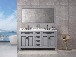 60 Zoll-grauer Fußboden - eingehangene doppelte Wannen-Badezimmer-Möbel, Feld Spiegel, Marmoroberseite, vier Türen, Foor Fächer
