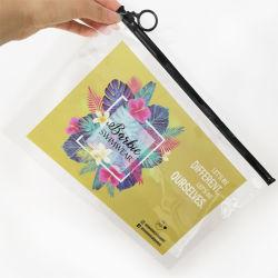 Logo coloré de marque personnalisée recyclables transparente en PVC curseur à glissière à l'emballage sac en plastique pour les vêtements cosmétiques Ziplock Pochette de voyage