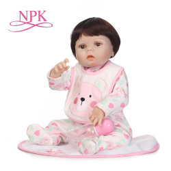 npk 55cm 소프트 실리콘 실물 같은 신생아소녀 의복 베브, 다시 태어난 메니나 베이비돌걸 장난감