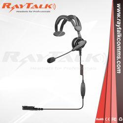 Au cours de la tête de l'écouteur unique casque avec microphone bandeau réglable et de la flèche