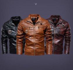 高品質人のための多彩なPUの綿の人の冬のバイカーの偶然のタイプコートの革のジャケット