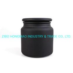 Le gel de haute qualité Bougie en verre noir mat Jar conteneur bougeoirs bougies avec couvercle 500ml
