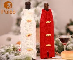 方法クリスマスのボタンが付いている装飾的なKintted棒びんカバー