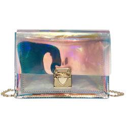 Gelee-Handtasche der Form-wasserdichtes Funkeln-ganz eigenhändig geschriebe Goldketten-Schulter-Dame-Purse Transparent PVC Women