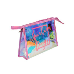 La migliore estetica di vendita insacca il fornitore, sacchetto impaccante cosmetico olografico a chiusura lampo del PVC del Rainbow su ordinazione