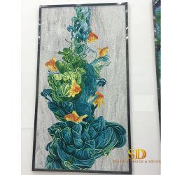 لطيفة عالة فسيفساء جدار أساليب من زهرات زرقاء وسمكة ذهبيّة في [لييفنغ] غرفة
