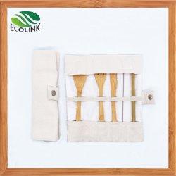 El bambú cubertería cubertería establecer con un cuchillo de utensilios de la marcha de la horquilla //Cuchara/la paja