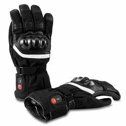 Uomo e donna Heated Heated del modulo dei guanti di cuoio del motociclo della batteria ricaricabile di inverno dei guanti del motociclo del SALVATORE