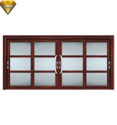 Chambre intérieure porte Double porte coulissante en verre à ossature de bois