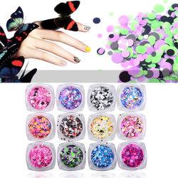 Лак для ногтей искусство DIY плоской круглой Sequin Блестящие цветные лаки декор маникюр аксессуар