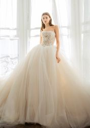 Rose clair robes de mariage de bille de Tulle chérie de robes de mariée Z5052