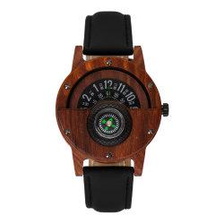 Het milieuvriendelijke en Modieuze Houten Horloge van de Mensen van de Riem van het Leer