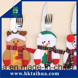 クリスマスの台所装飾のサンタのかわいいフォークおよびナイフカバー