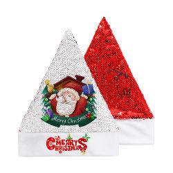 Commerce de gros or rouge violet bleu Décoration de Noël unique de maillage de Sequin paillettes chapeaux
