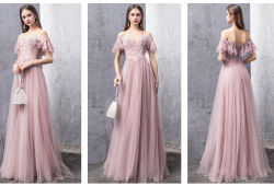 Robes de soirée rose Dentelle Tulle pas cher robes demoiselle d'honneur partie Prom L117