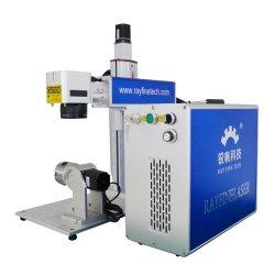 Incisione del metallo della macchina 110X110mm della marcatura del laser della fibra di Raycus 30W con l'asse rotativo