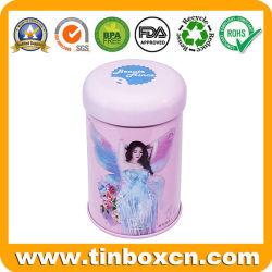 Vérin d'étain métallique rond cosmétiques Boîte avec couvercle étanche Double pour EYE SHADOW Masque crème Don