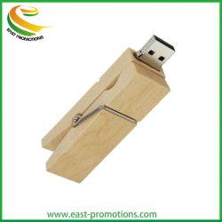محرك أقراص Wooden Clip USB Flash Memory Stick Wood Ping Pen