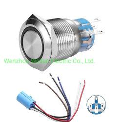 Edelstahl-Drucktastenschalter mit dem Kabel-Kontaktbuchse-Schalter, der Lampen-Licht-Taste der Draht-2-6 beständige verdrahtet