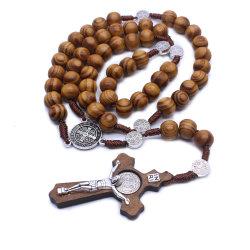 Ornamento trasversale di legno Handmade della collana cattolica del rosario
