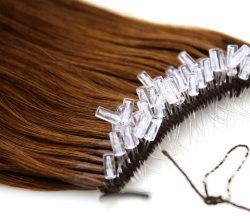 El mejor nudo brasileño Remy Cabello Humano limpiar pescado fácil tirar de hilo de seda nudo Hair Extension