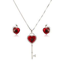 2019 Nuevo Diseño Heart-Shaped Collar y aretes joyas Set