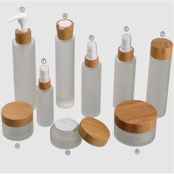 Envases cosméticos orgánicos de la tapa de bambú de crema de Vidrio Jarra y botella para el cuidado de la piel