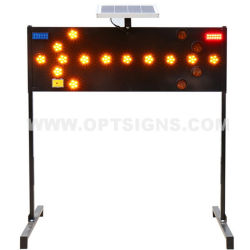Optraffic Road Construction Highway Warning LED وميض أضواء الأسهم الشمسية، وميض إشارات الأسهم