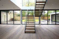 最新のデザイン現代ホーム使用の緩和されたガラスの柵の木製のまっすぐなステアケース