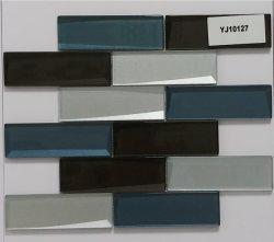 Gray blu delle mattonelle della costruzione domestica della cucina di Backsplash di idea del bagno dell'acquazzone della decorazione di vetro della parete e mosaici di collegamento neri di arte del reticolo