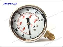 Unteres industrielles volles Öldruck-Anzeigeinstrument des Edelstahl-Og-008 mit Glyzerin-Flüssigkeit-Manometer