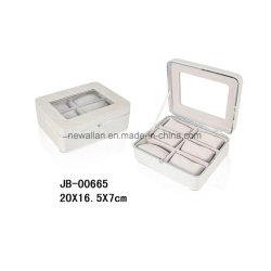 Caixa de Couro da Embalagem do Armazenamento do Plutônio do Frame do Cromo do Metal/relógio do Indicador/caso de Couro 6xslots