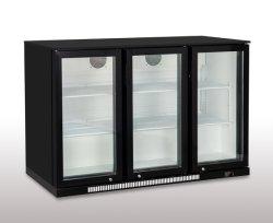 3つのガラスドア棒黒の飲料ビールスリラーのキャビネット冷却装置