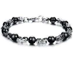 Mode de charme en acier inoxydable noir Bijoux cordon bracelet Chakra