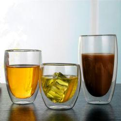 80-600ml vidrio de doble pared con aislamiento de café, té, cerveza de la copa de cristal