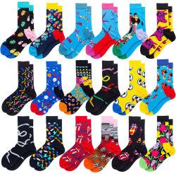 Único OEM personalizados Sexy vestidos coloridos padrão Funky Socks Tripulação Masculina Casual 80% meias de algodão
