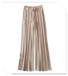 Tricot mulheres Perneiras 100% Cashmere Pants com cinto de cintura