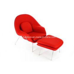 Moderna Sedia In Tessuto Con Struttura In Metallo E Ottomana