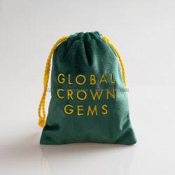 금 자수 작은 녹색 벨벳 도금줄 보석 파우치 도매