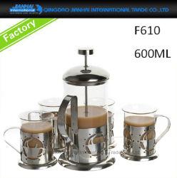 남비와 컵으로 놓이는 커피 메이커 유리 그릇 프랑스인 압박