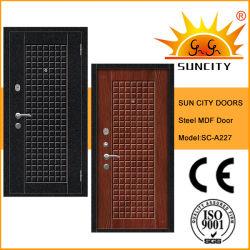 De entrada fuera de la hoja de acero puerta interior de madera con chapa de madera (SC-A227)