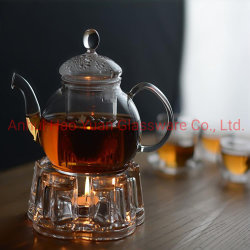 Casa de cristal transparente Heat-Resistant juego de té, tetera de vidrio para Blooming té, té de frutas