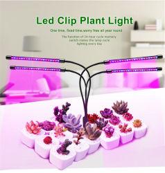 Dobles y tres LED de cabeza redonda de la luz de crecer con cuello de ganso Flexible y Clip metálico