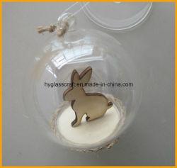 中ウサギが付いている安く明確なクリスマスのガラス玉